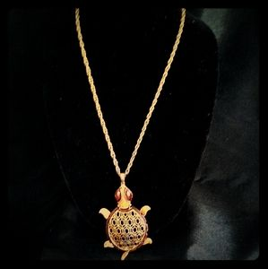Gold brown Turtle Necklace